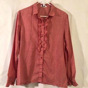 Vintage Ruffle Red Gingham Shirt